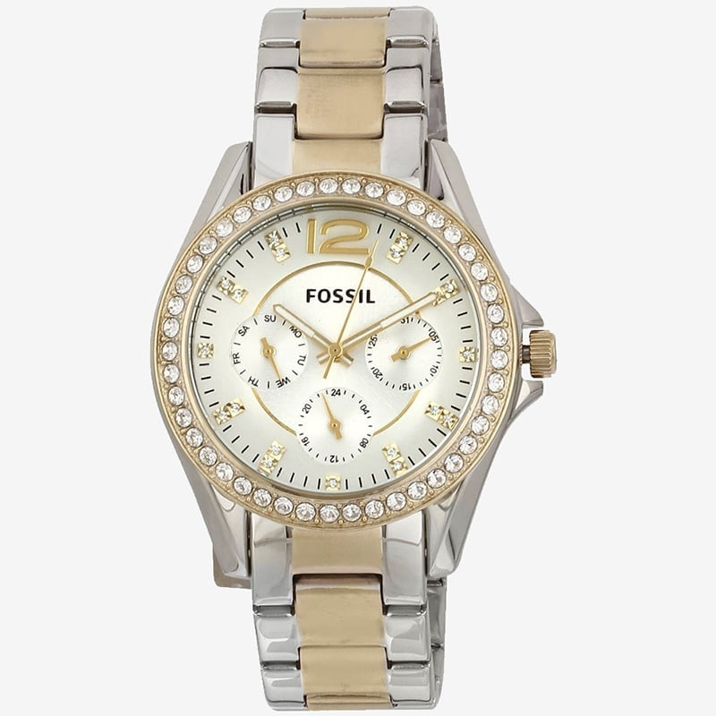 72103b21322 Fossil Women s ES3204 Riley Silver and Gold Tone Watch
